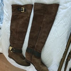 Women's brown suede leather boots